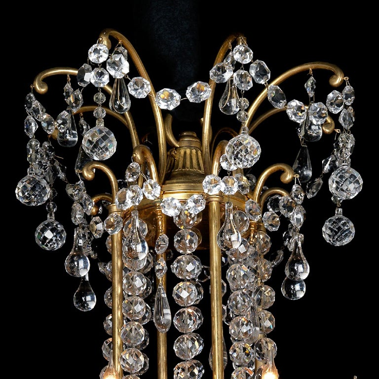 Gilt Louis XVI Style Cut-Glass Thirty-two-light Chandelier, circa 1890 For Sale