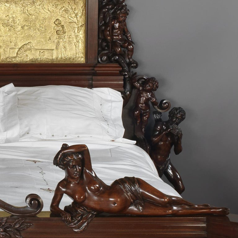 Bronze Exhibition Austrian Neo-Baroque Carved Mahogany Bed, circa 1890 For Sale