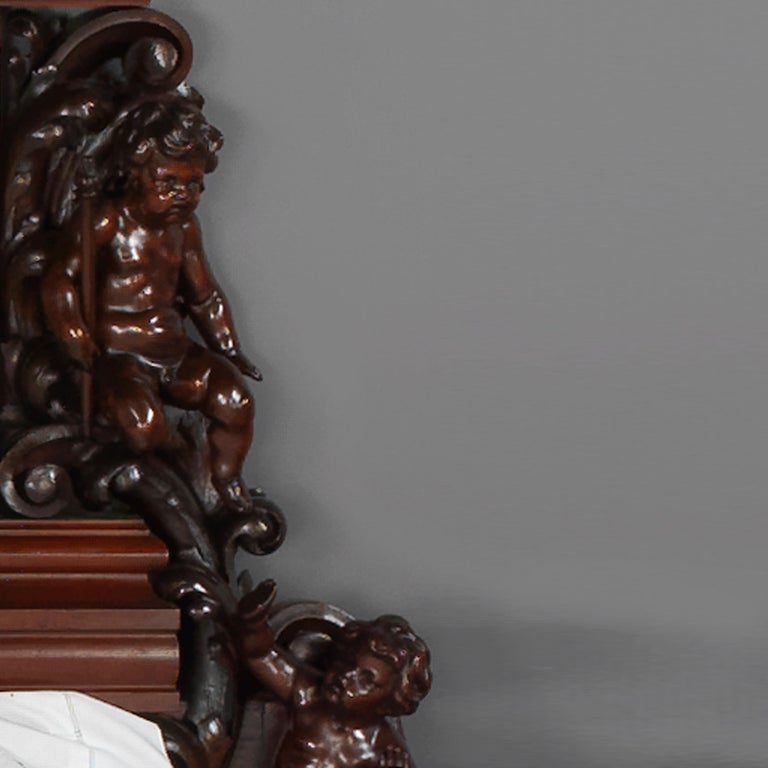 Exhibition Austrian Neo-Baroque Carved Mahogany Bed, circa 1890 For Sale 5