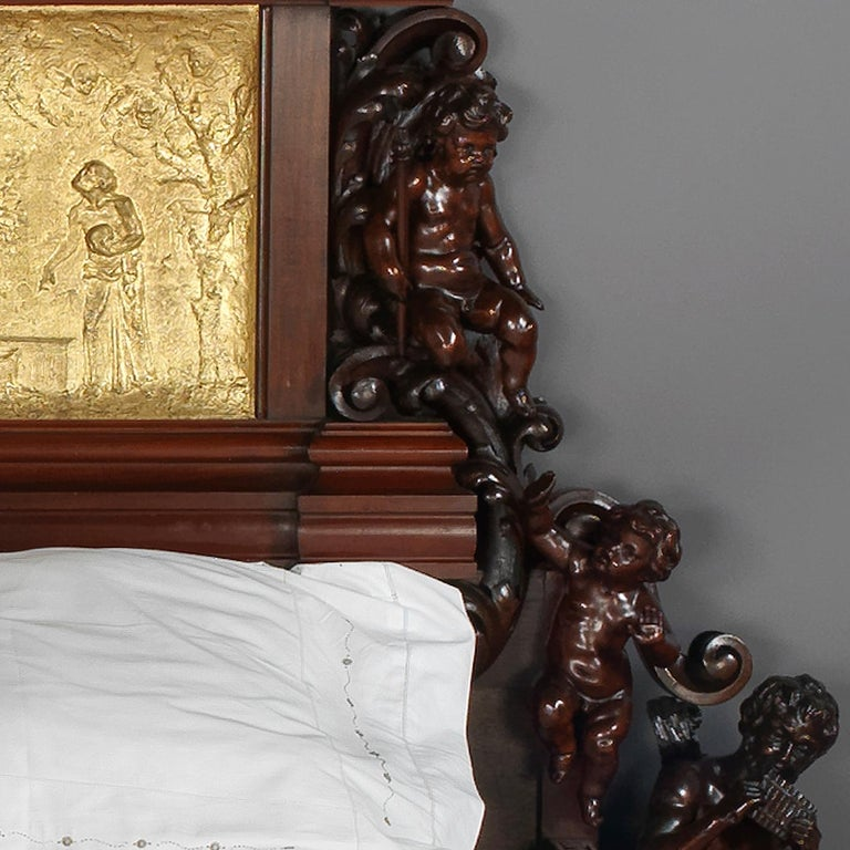 Exhibition Austrian Neo-Baroque Carved Mahogany Bed, circa 1890 For Sale 1