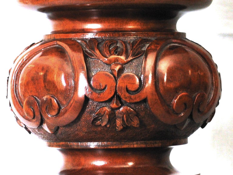English Carved Walnut Full Size Billiard Table and Accessories by Cox & Yeman For Sale