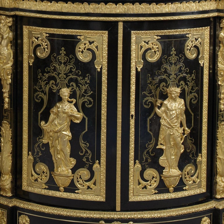 Gilt Pair of Boulle Marquetry Inlaid Corner Cabinets by Béfort Jeune, circa 1870 For Sale