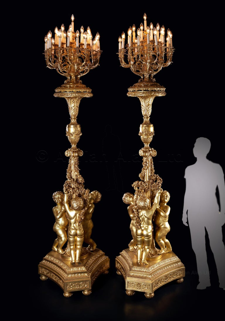 Louis XV Monumental Pair of Giltwood Torchères, after Jacques Gondouin, circa 1870 For Sale