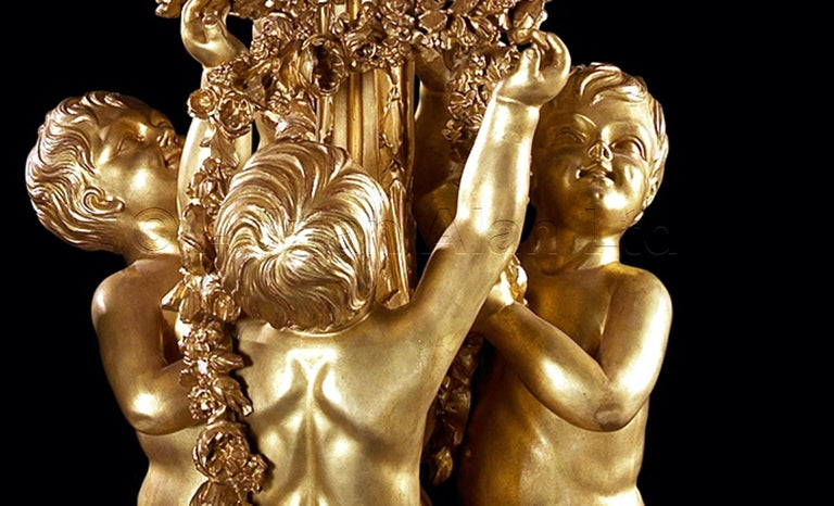 Monumental Pair of Giltwood Torchères, after Jacques Gondouin, circa 1870 In Excellent Condition For Sale In London, GB