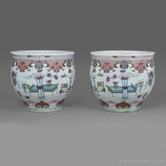 Pair of Porcelain Fish Bowls, Attributed to Samson