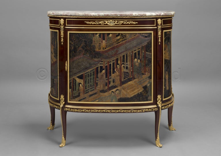 A fine Louis XVI style gilt bronze mounted mahogany and Coromandel lacquer, demilune commode, by François Linke.