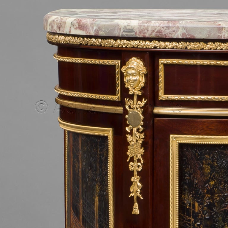 Gilt Louis XVI Style Mahogany and Lacquer Commode by François Linke, circa 1890 For Sale