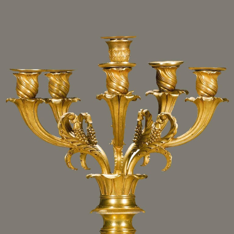 Magnificent Pair of Gilt-Bronze Figural Empire Period Candelabra 6