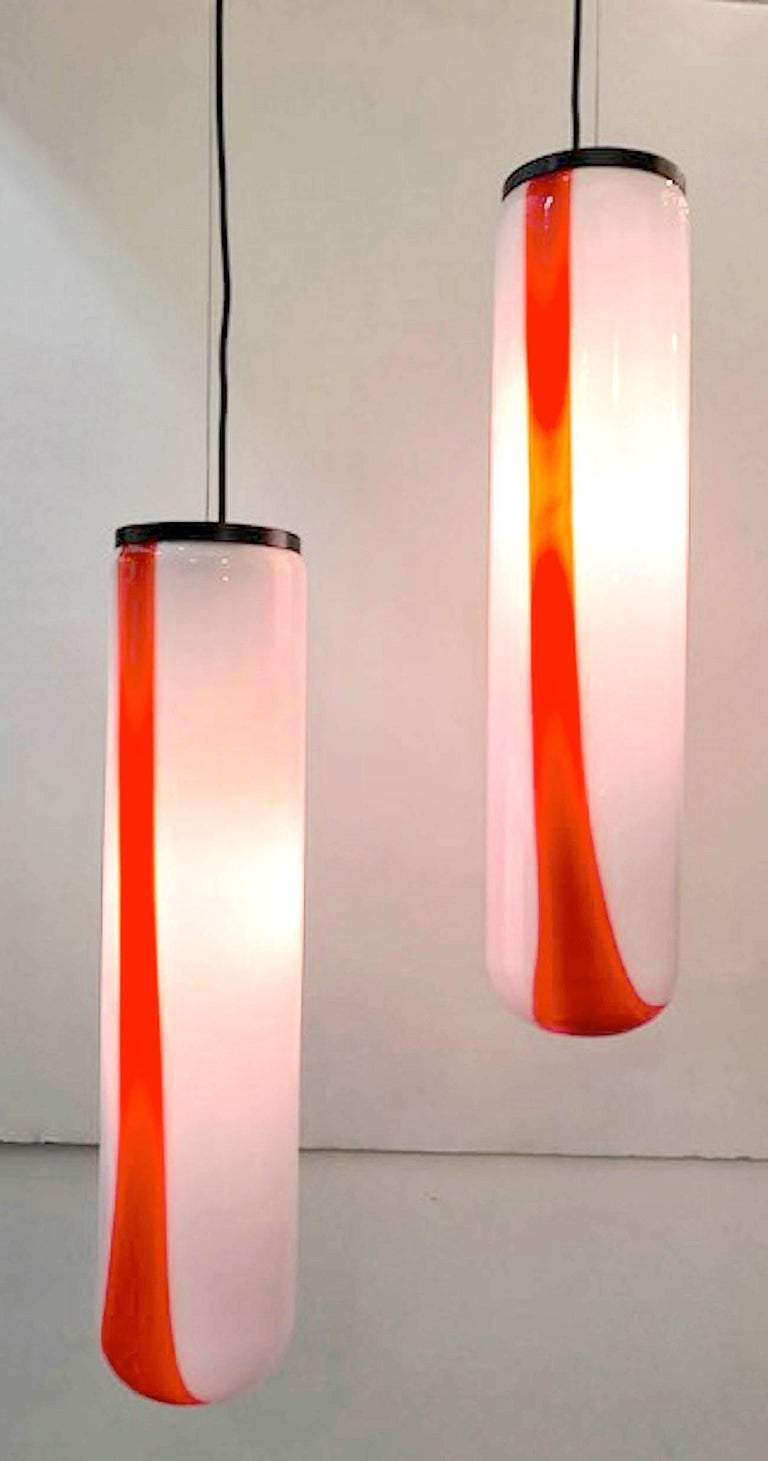 Pair Of 1970s Italian Tube Pendant Lights By Vistas For