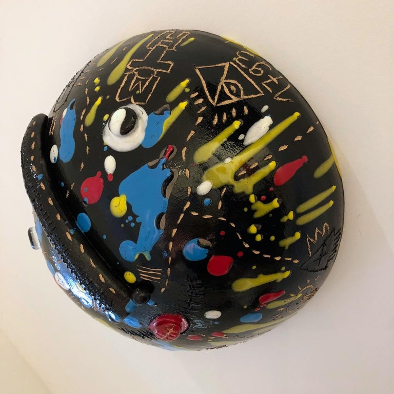 Ceramic Mask Signed Both by DaLo & Street Artiste Cumbone For Sale 1