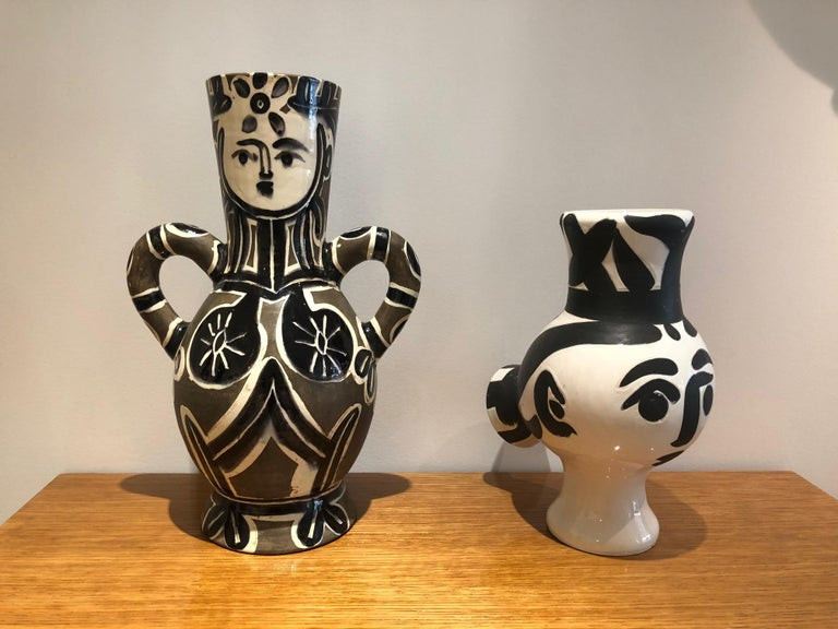 Picasso Edition Madoura Ceramic Wood Owl Woman Vase 1951 For Sale 1