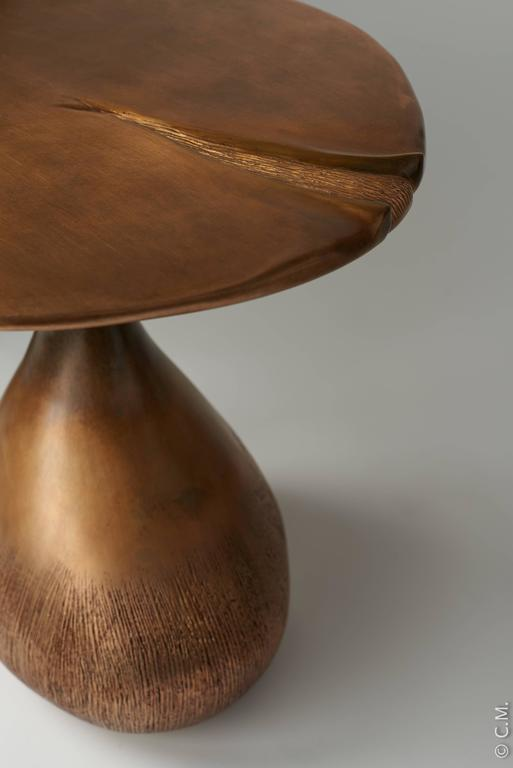 Contemporary Pair of Bronze Gueridons / Side Tables by Hoon Moreau For Sale