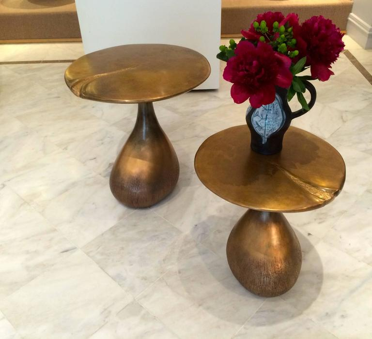 Pair of Bronze Gueridons / Side Tables by Hoon Moreau For Sale 1