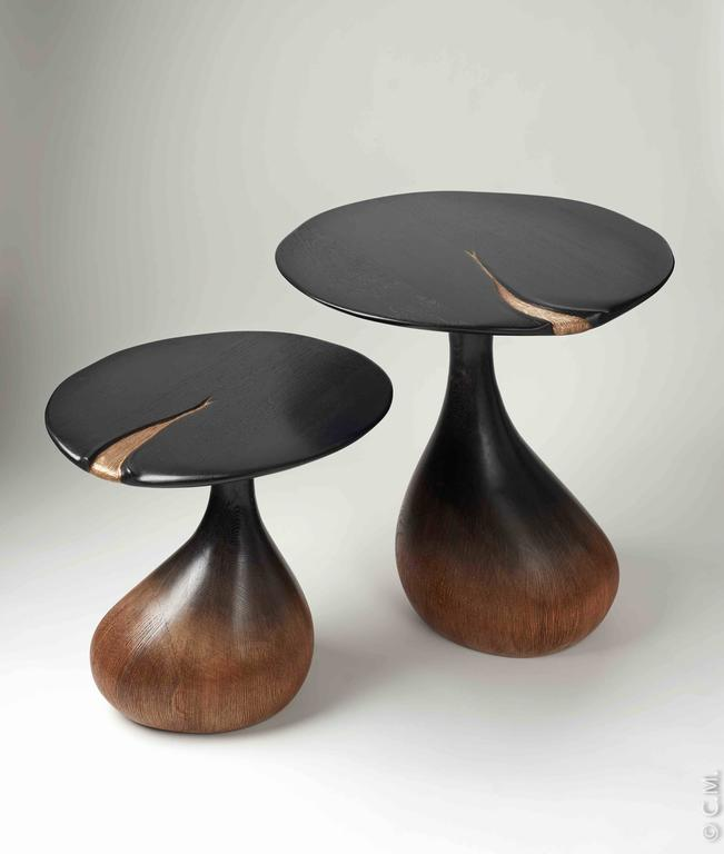 Pair of Bronze Gueridons / Side Tables by Hoon Moreau For Sale 2