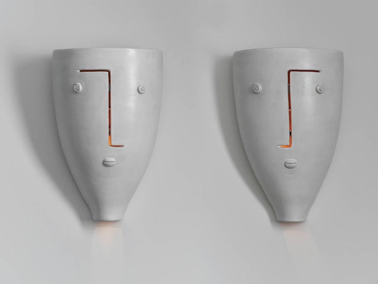 Large Ceramic Wall Lights : Large Pair of Ceramic Wall Lamps Signed by Dalo For Sale at 1stdibs