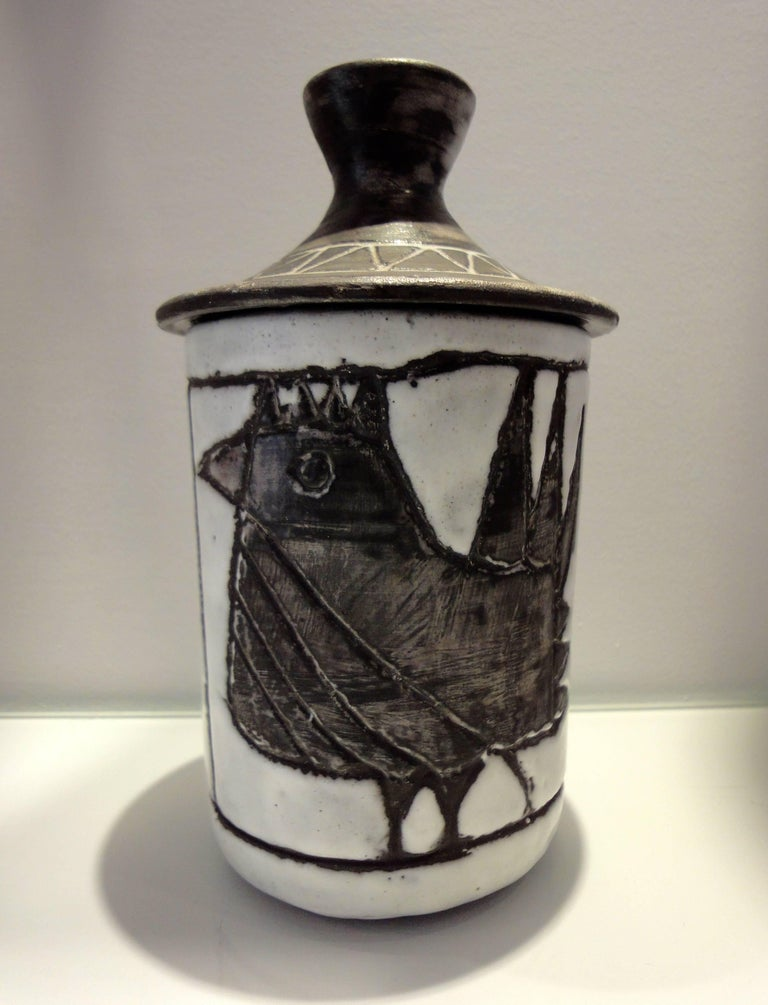 Ceramic Box with Stylized Bird by Jacques Pouchain Atelier Dieulefit, 1960s For Sale 2