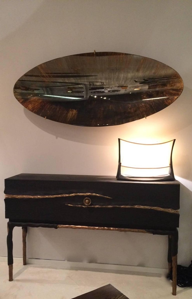 Contemporary Oval and Concave Golden Mirror by Christophe Gaignon For Sale