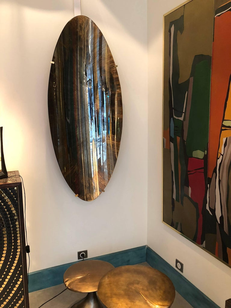 Oval and Concave Golden Mirror by Christophe Gaignon For Sale 2