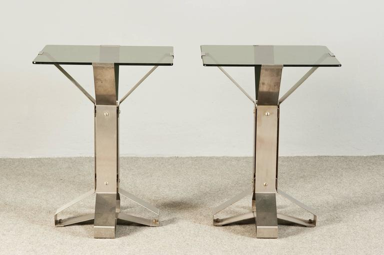 Stunning pair of squared chrome and smoked glass coffee tables.