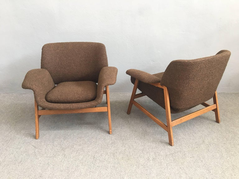 Mid-Century Modern Iconic Pair of Armchairs 849 by Gianfranco Frattini for Cassina For Sale