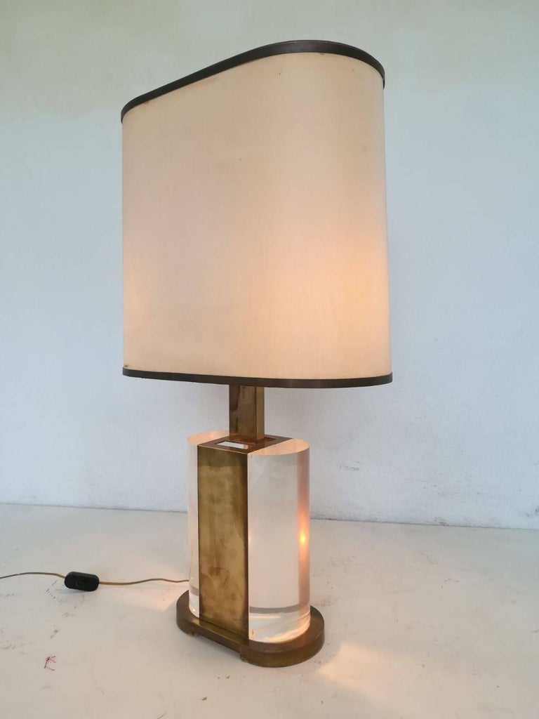 Rare brass and Lucite table lamp signed Gabriella Crespi.