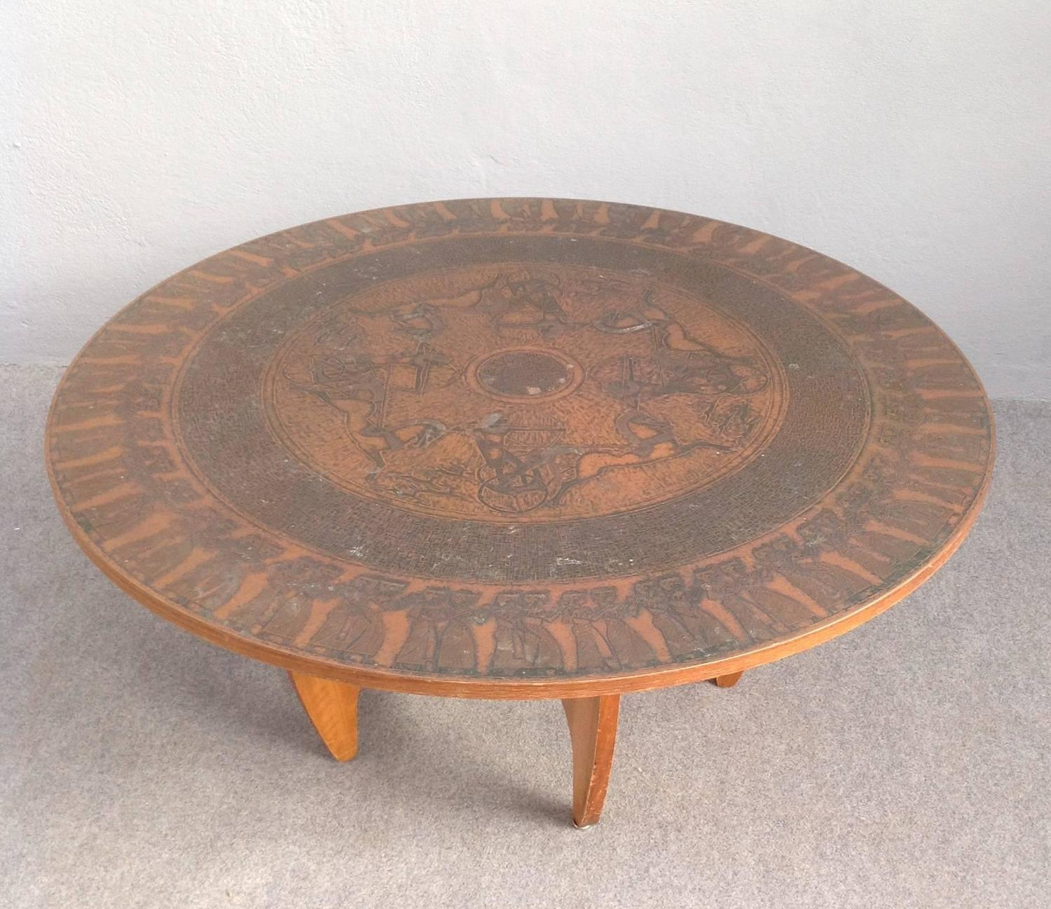 Round 3 Round Coffee Table Made Of Metal Cm ø80x23h: Round Copper Leaf Coffee Table For Sale At 1stdibs