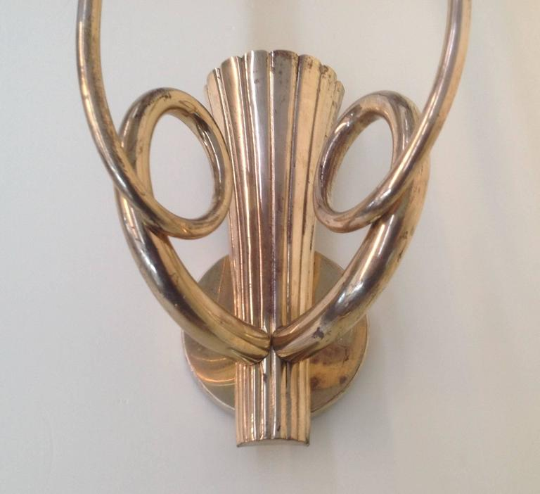 Mid-Century Modern Extraordinary Pair of Brass Wall Sconces For Sale