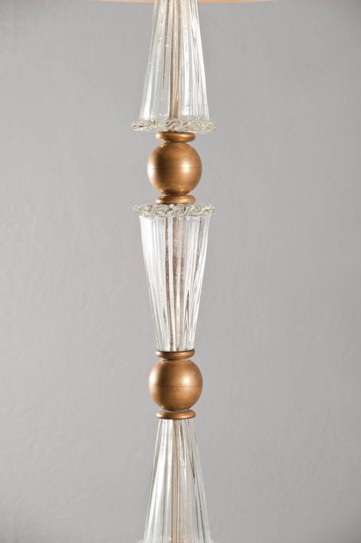 Stunning brass and handblown Murano glass floor lamp attributed to Barovier.