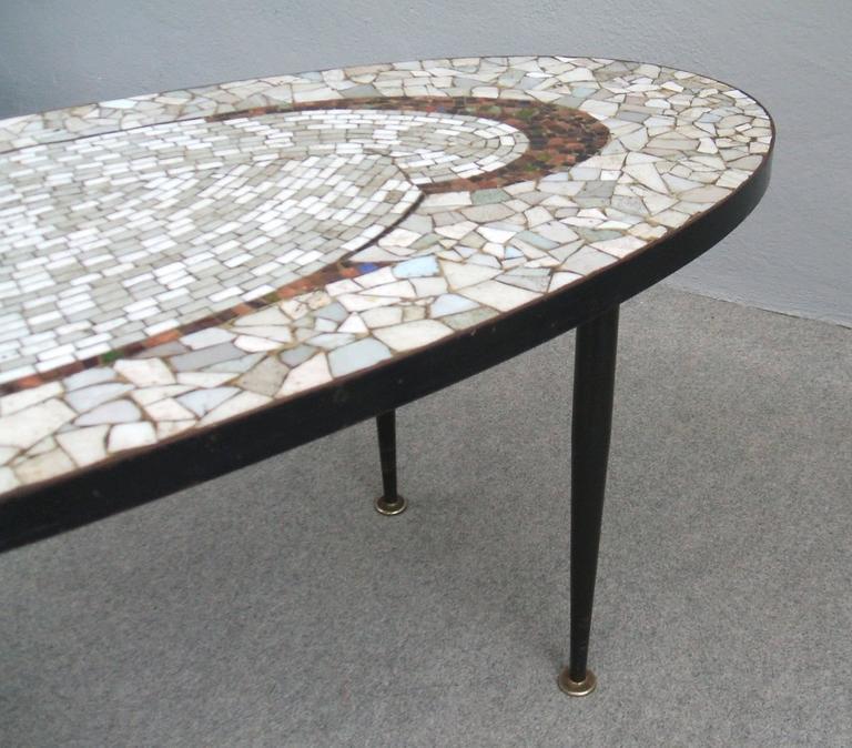 1950s Italian Mid Century Modern Brass And Mosaic Tile Top: Mid-Century Tile Mosaic Top Coffee Table At 1stdibs