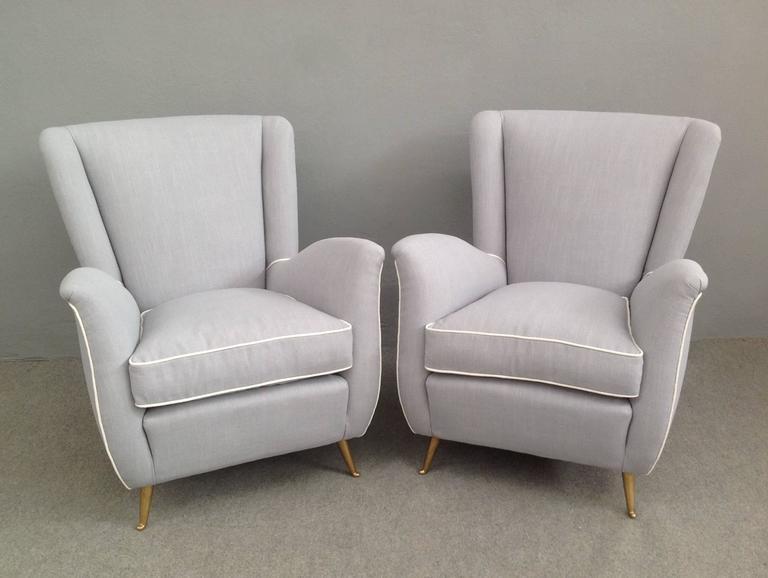 Charming Pair of Armchairs Gio Ponti Style 2