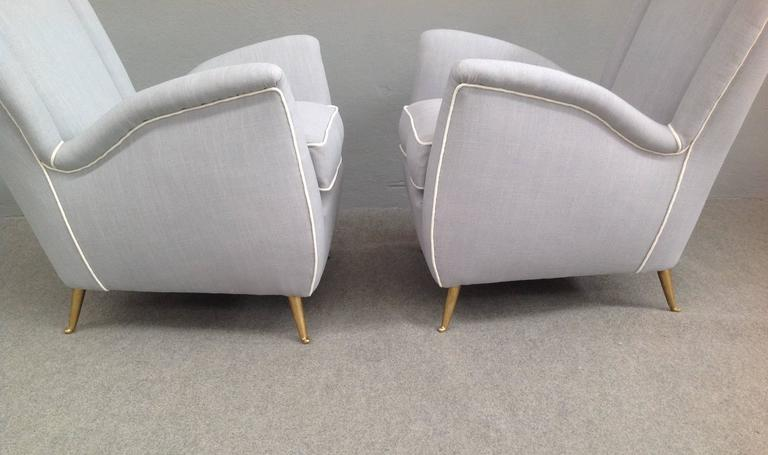 Mid-20th Century Charming Pair of Armchairs Gio Ponti Style For Sale