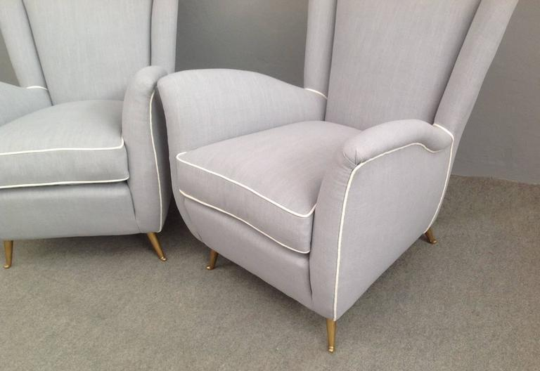 Charming Pair of Armchairs Gio Ponti Style For Sale 2