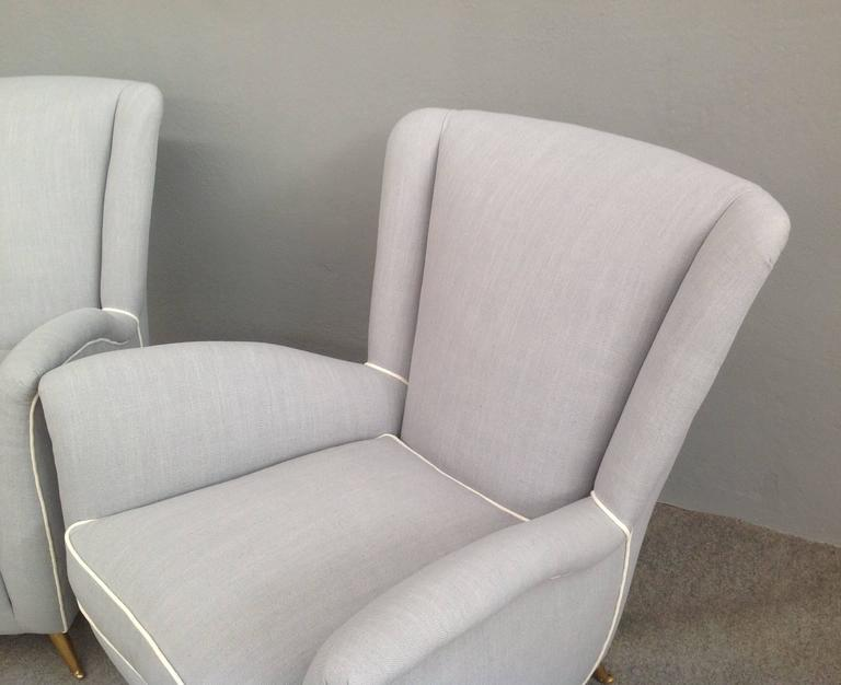 Charming Pair of Armchairs Gio Ponti Style For Sale 3