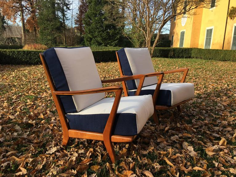 Rare Pair of Armchairs Attributed to Gio Ponti, circa 1950 5