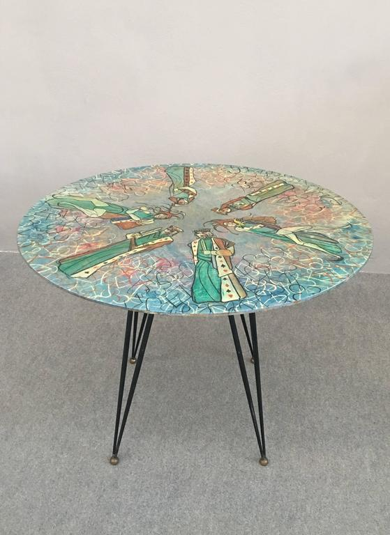 Italian Glamorous Table by Decalage, Signed For Sale