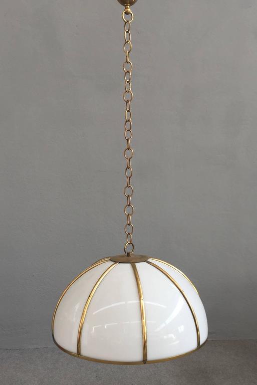 Rare brass and perspex pendant designed by Gabriella Crespi.
