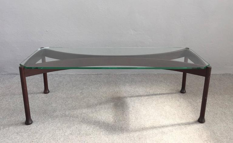 Very elegant wood and glass coffee table attributed to Fontana Arte.