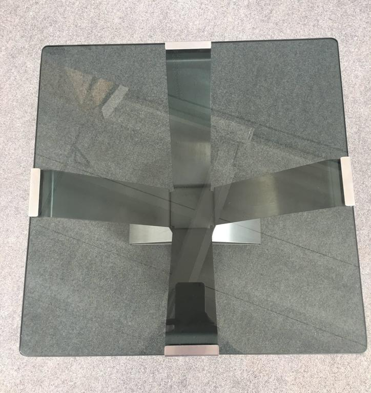 Pair of Chrome and Glass Coffee Tables For Sale 1