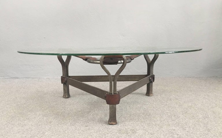 European Chic Coffee Table Attributed to Jacques Adnet For Sale