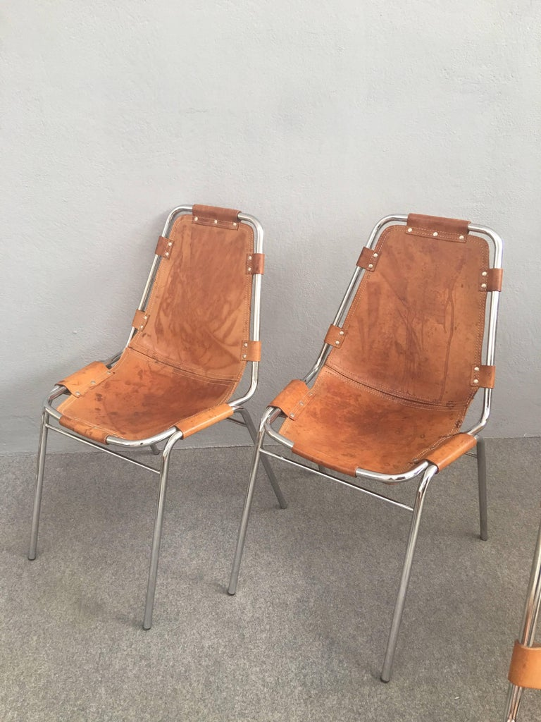 Set Of Four Les Arcs Chairs By Charlotte Perriand For Sale