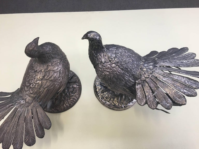 Rare Pair of Doves Signed Gabriella Crespi For Sale 1