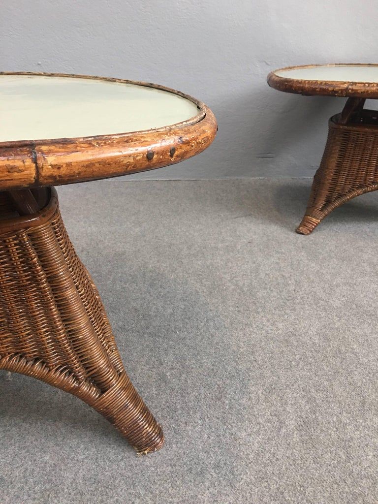 Charming Pair of Wicker Coffee Tables For Sale 3