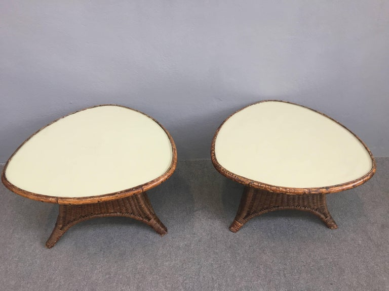 Charming Pair of Wicker Coffee Tables For Sale 5