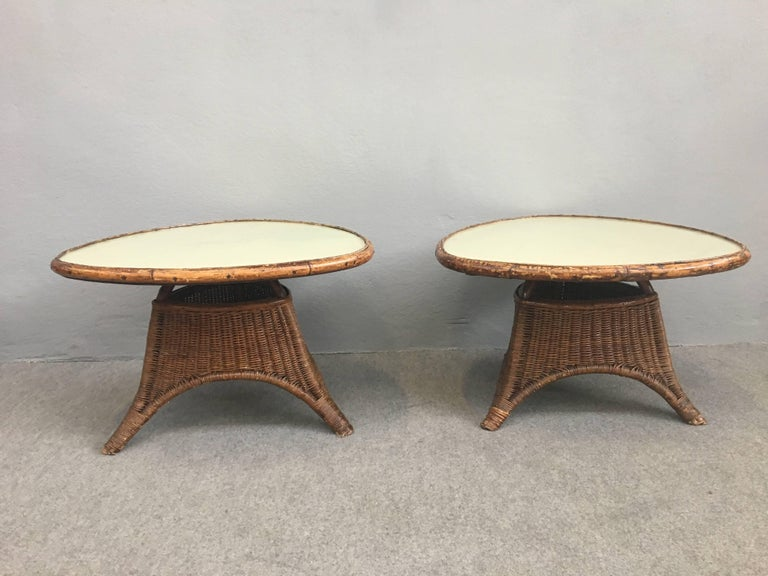 Charming Pair of Wicker Coffee Tables For Sale 4