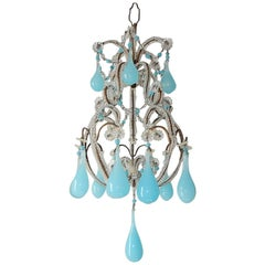 French Blue Opaline Drops and Beads Petit Chandelier Vintage