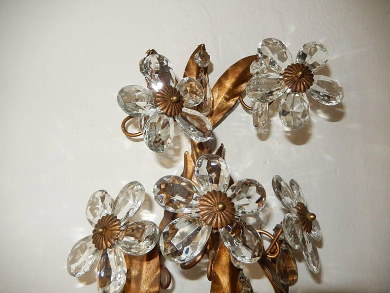 Early 20th Century Three-Light Maison Baguès Style Crystal Flower Sconces For Sale