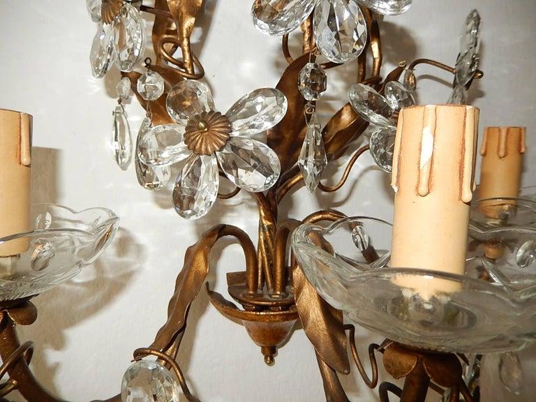 Three-Light Maison Baguès Style Crystal Flower Sconces For Sale 1