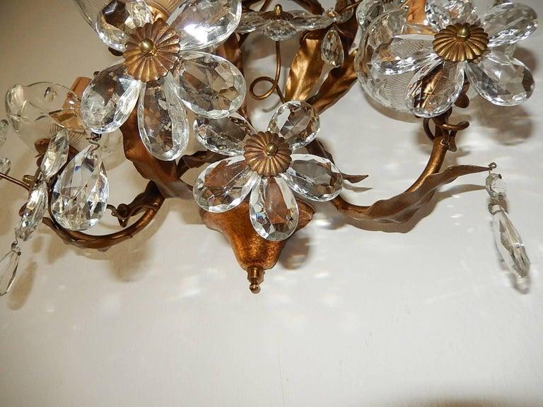 Three-Light Maison Baguès Style Crystal Flower Sconces For Sale 2