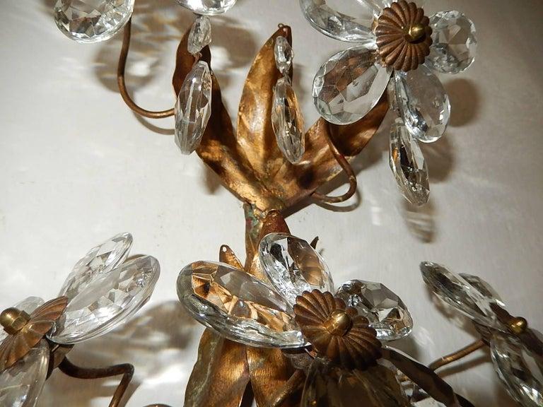 Three-Light Maison Baguès Style Crystal Flower Sconces For Sale 3