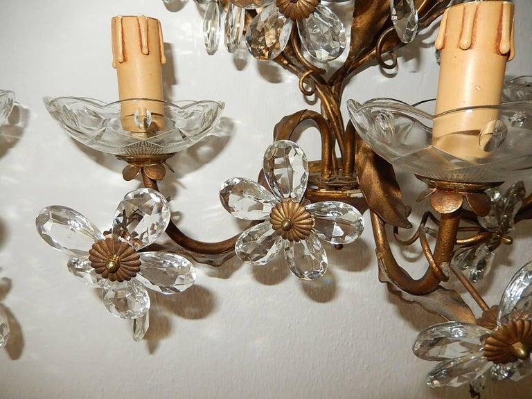 Three-Light Maison Baguès Style Crystal Flower Sconces For Sale 4
